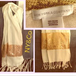 NY&Co sequined scarf very trendy.  Pictures snags